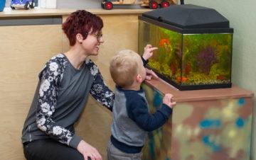 Visjes zoeken in het aquarium bij kinderdagverblijf - Up Kinderopvang aan de Esdoornstraat Rijswijk